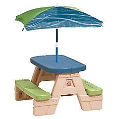 Mesa de juegos con paraguas 75x12x76 cm plástico