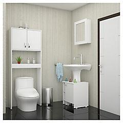 Kit de botiquín para baño + lavamanos + estante Blanco