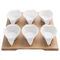 Set de bowls con bandeja 6 unidades Blanco