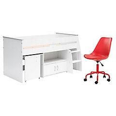 Combo Cama Infantil 1 Plaza Blanco + Silla para PC Rojo