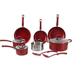 Batería de cocina 12 piezas aluminio rojo