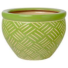 Macetero de cerámica 12x17x17 cm Verde