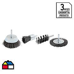 Set de escobillas para taladro 4 unidades
