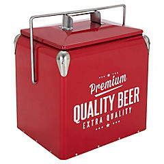 Cooler metálico con asa 13 litros rojo