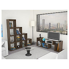 Combo rack de TV + biblioteca amaretto