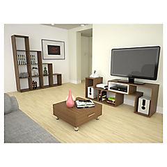 Combo rack de TV + biblioteca + mesa de centro amaretto