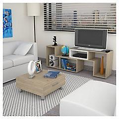 Combo rack de TV + mesa de centro oak
