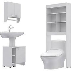 Combo Botiquín 28 + mueble bajo lavamanos 47 + Estante 20