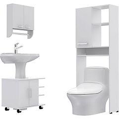 Combo Botiquín 28 + mueble bajo lavamanos 55 + Estante 26