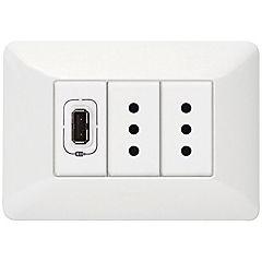 Tomacorriente doble con USB 750 mA con conexión USB blanco