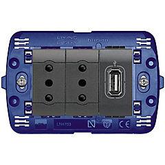 Tomacorriente doble 10A + 1 USB 1,5A Semi armado Antracita