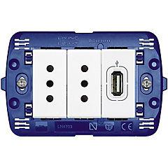 Tomacorriente doble 10 A + 1 USB 750mA Semi armado