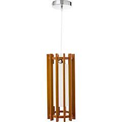 Lámpara de colgar Metal y Vidrio Ciilindro Café