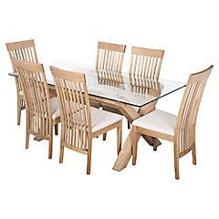 Juego de comedor Lyon Vidrio 6 sillas Slat
