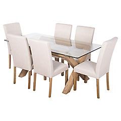 Juego de comedor lyon vidrio 6 sillas for Juego de comedor de vidrio precios