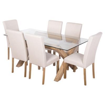 Juego de comedor lyon vidrio 6 sillas for Sillas ergonomicas sodimac