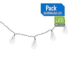 Guirnalda solar LED 10 luces Transparente