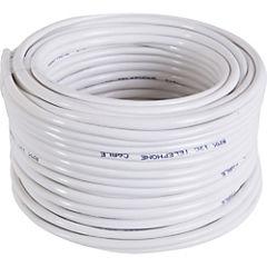 Cable telefónico 2 pares 24 AWG 25 m Blanco