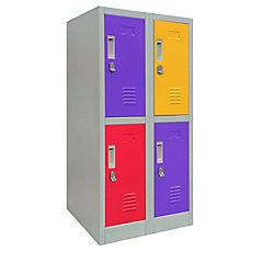 Locker de oficina acero 4 puertas con portacandado