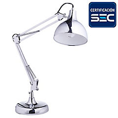 Lámpara de Escritorio angular cromo E27 11W