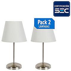 Pack lámparas de mesa 20 cm 60 W 2 unidades