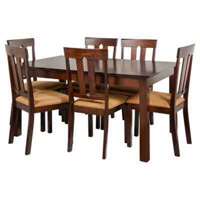 Juego de comedor 6 sillas caf for Sillas ergonomicas sodimac