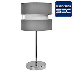 Lámpara de mesa tela 1 luz E27 gris