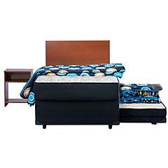 Combo diván cama 1,5 plazas + textil + velador