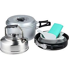 Set de cocina para camping 2 personas metal y plástico