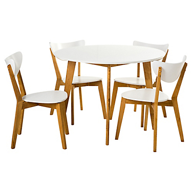 Juego de comedor 4 sillas blanco - Homy - 2900319
