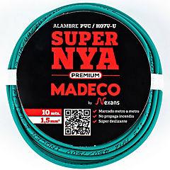 Alambre de cobre aislado (H07V-U) 1,5 mm2 10 m Verde