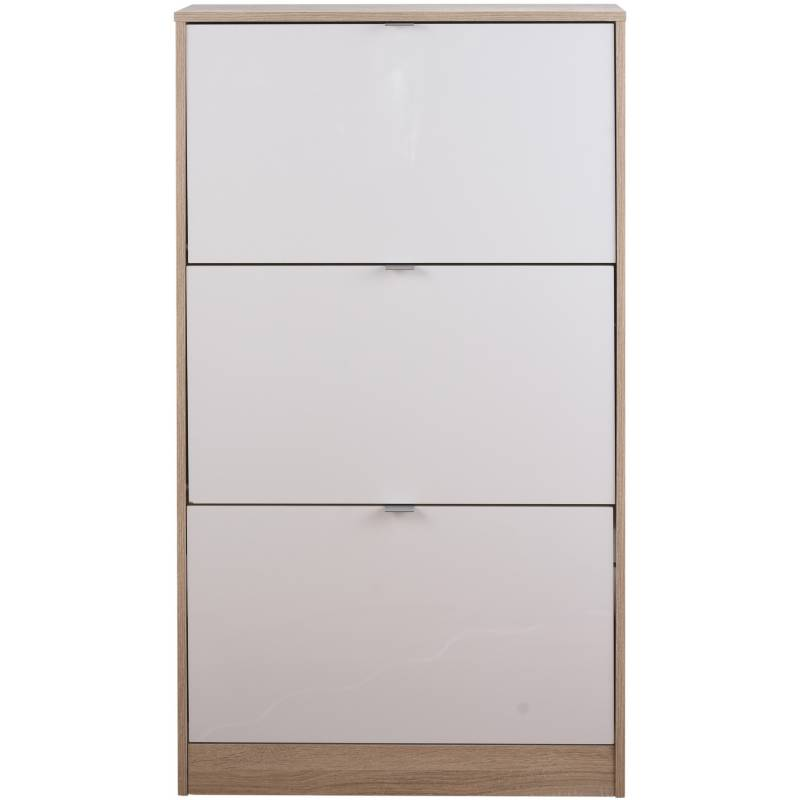 TVILUM - Zapatera 3 cajones 71x24x126  blanco/oak
