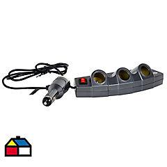 Cargador triple USB 12 V Negro