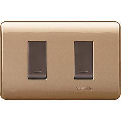 Interruptor doble 9/15 embutible con placa Dorado