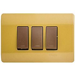 Interruptor triple 9/32 embutible con placa 16 A Dorado
