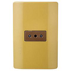 Tomacorriente 2p+t embutible con placa 10 A Dorado