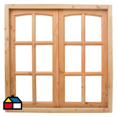 Ventana pino oreg n 120x120 cm con vidrio for Ventana aluminio 120x120