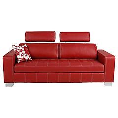 Sofá 3 cuerpos 90x220x80 cm rojo