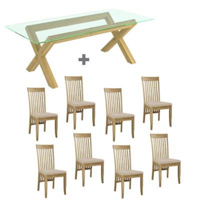 Juego de comedor lyon vidrio 8 sillas slat for Sillas ergonomicas sodimac