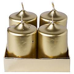 Set 4 velas pilar dorada 6.5 cm
