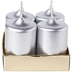 Set 4 velas pilar plata 6.5 cm