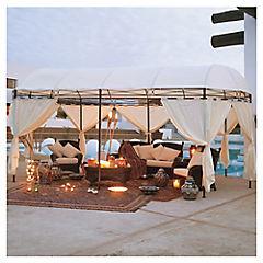Pérgola oval 3x6 m blanca con cortina
