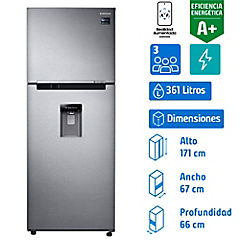 Refrigerador no frost top mount freezer 361 litros silver