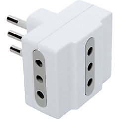 Adaptador triple 10 A Blanco