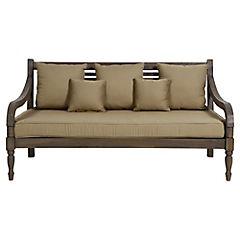 Sofá madera teca Chypre con cojín
