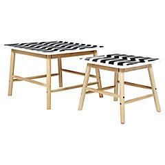 Set de mesas angulares blanco/negro