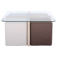 Mesa de centro con 4 poufs 45x90x90 cm