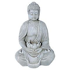 Buda portavela decorativo 38,52x25x20 cm cerámica gris