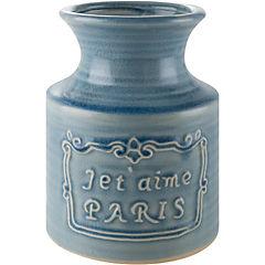 Florero 18 cm cerámica Celeste