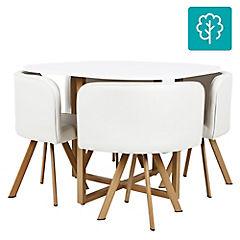 Juego de comedor 4 sillas 100x100 Blanco